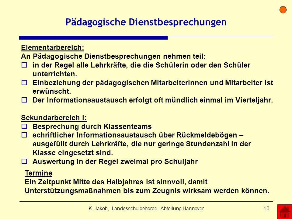 K. Jakob, Landesschulbehörde - Abteilung Hannover10 Pädagogische Dienstbesprechungen Elementarbereich: An Pädagogische Dienstbesprechungen nehmen teil