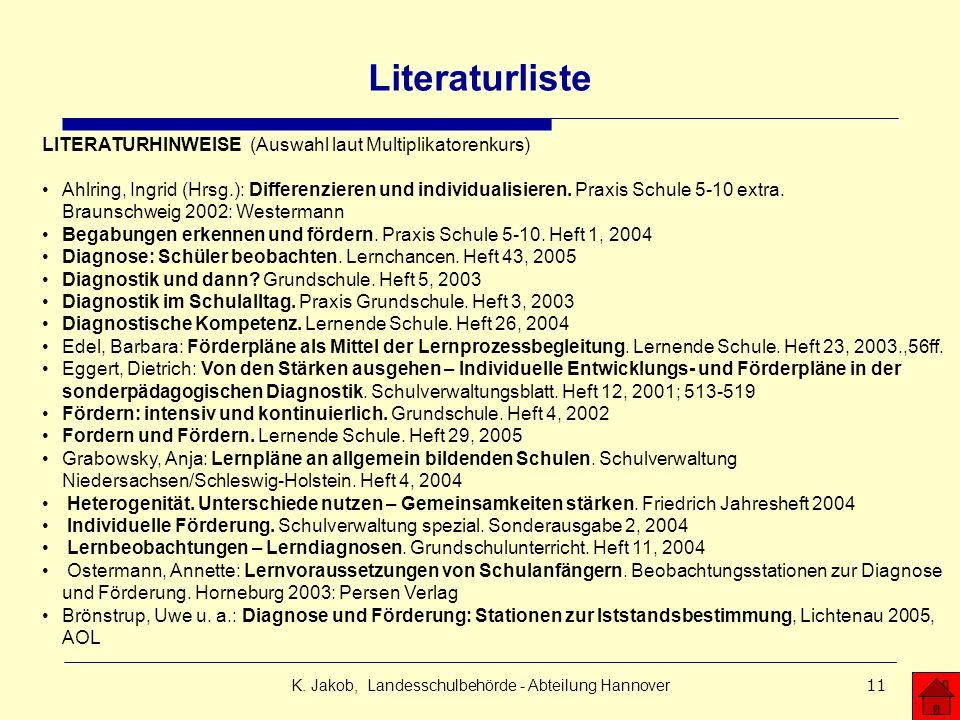 K. Jakob, Landesschulbehörde - Abteilung Hannover11 Literaturliste LITERATURHINWEISE (Auswahl laut Multiplikatorenkurs) Ahlring, Ingrid (Hrsg.): Diffe