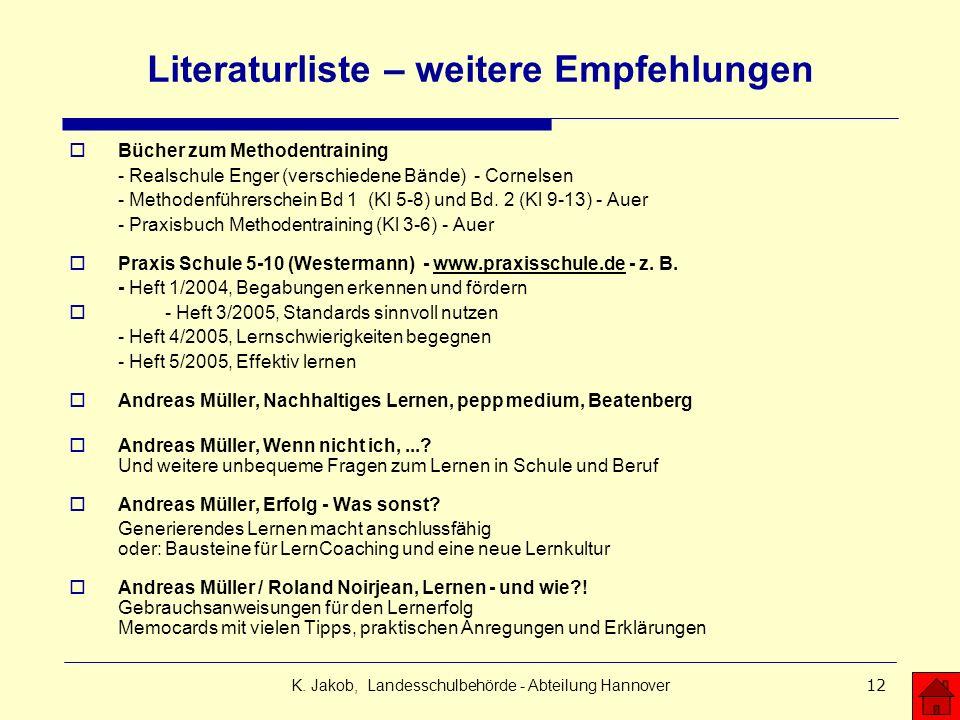 K. Jakob, Landesschulbehörde - Abteilung Hannover12 Literaturliste – weitere Empfehlungen Bücher zum Methodentraining - Realschule Enger (verschiedene