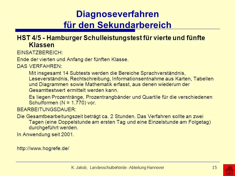 K. Jakob, Landesschulbehörde - Abteilung Hannover15 Diagnoseverfahren für den Sekundarbereich HST 4/5 - Hamburger Schulleistungstest für vierte und fü