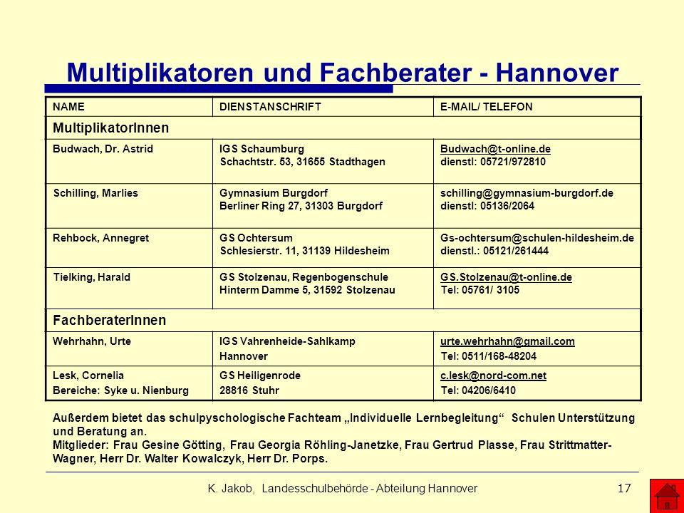 K. Jakob, Landesschulbehörde - Abteilung Hannover17 Multiplikatoren und Fachberater - Hannover NAMEDIENSTANSCHRIFTE-MAIL/ TELEFON MultiplikatorInnen B