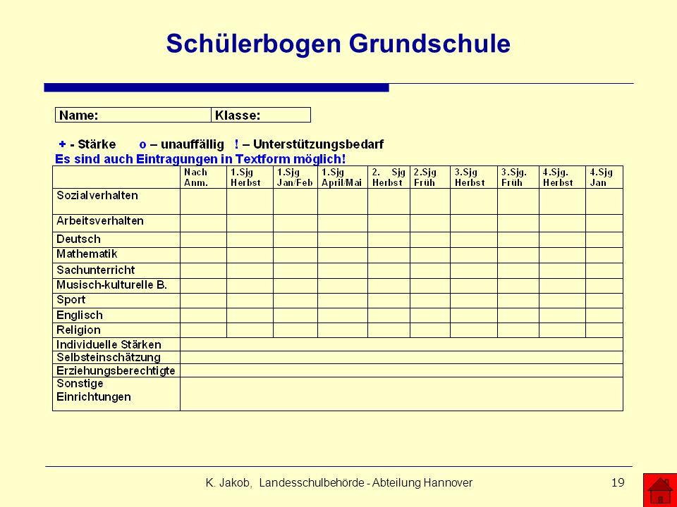 K. Jakob, Landesschulbehörde - Abteilung Hannover19 Schülerbogen Grundschule