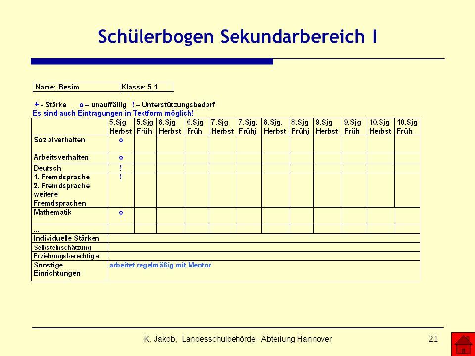 K. Jakob, Landesschulbehörde - Abteilung Hannover21 Schülerbogen Sekundarbereich I