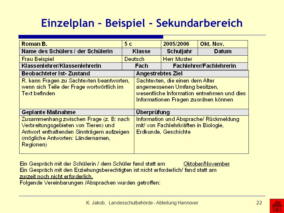 K. Jakob, Landesschulbehörde - Abteilung Hannover22 Einzelplan – Beispiel - Sekundarbereich
