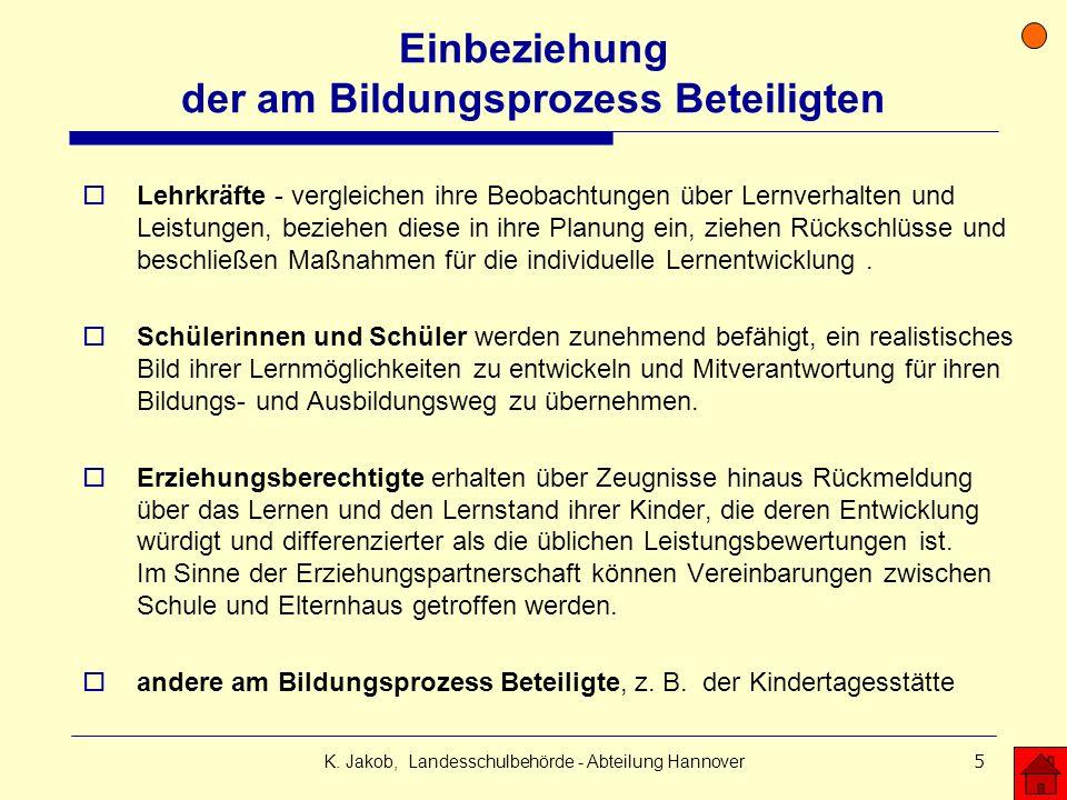 K. Jakob, Landesschulbehörde - Abteilung Hannover5 Einbeziehung der am Bildungsprozess Beteiligten Lehrkräfte - vergleichen ihre Beobachtungen über Le