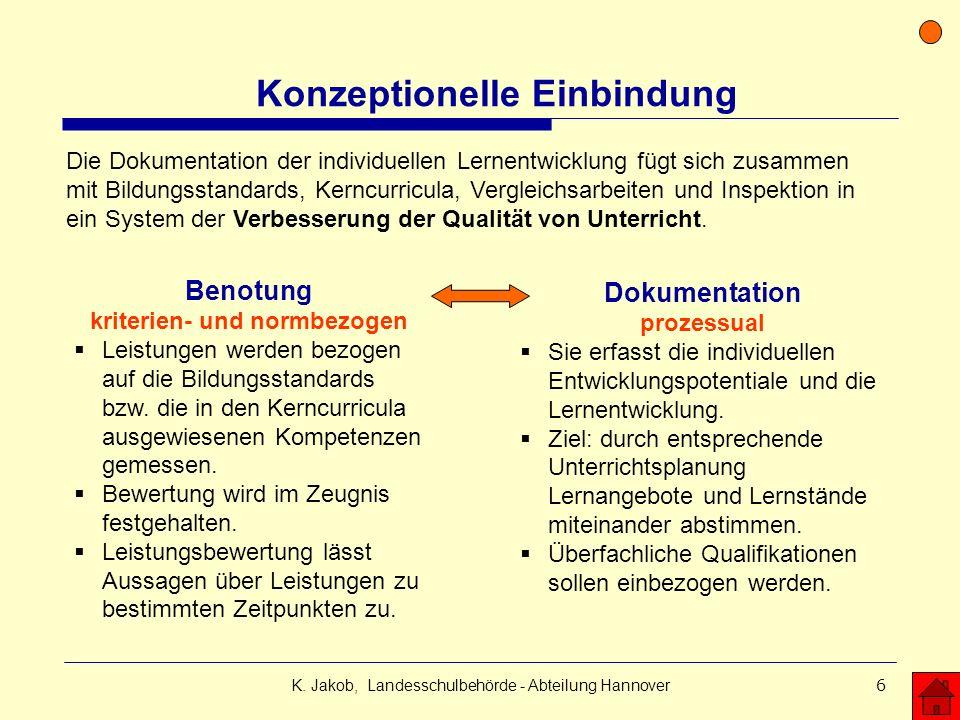 K. Jakob, Landesschulbehörde - Abteilung Hannover6 Konzeptionelle Einbindung Benotung kriterien- und normbezogen Leistungen werden bezogen auf die Bil