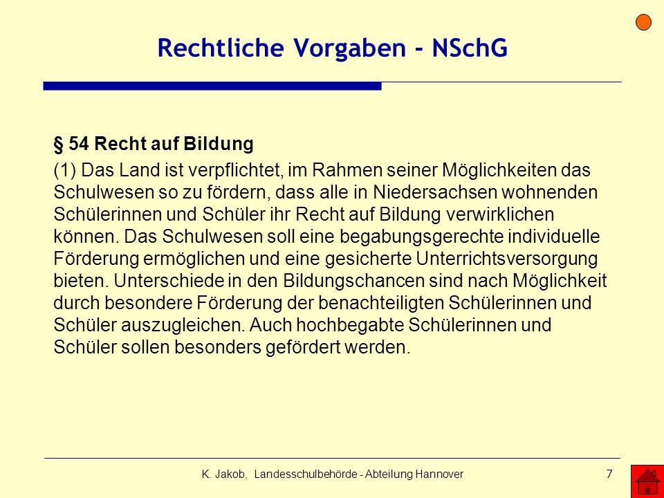 K. Jakob, Landesschulbehörde - Abteilung Hannover7 Rechtliche Vorgaben - NSchG § 54 Recht auf Bildung (1) Das Land ist verpflichtet, im Rahmen seiner