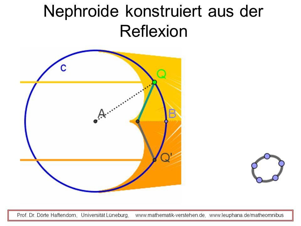 Nephroide konstruiert aus der Reflexion Prof. Dr. Dörte Haftendorn, Universität Lüneburg, www.mathematik-verstehen.de, www.leuphana.de/matheomnibus