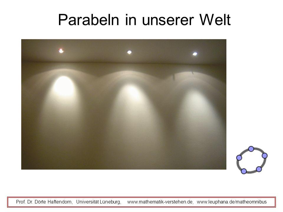 Parabeln in unserer Welt Prof. Dr. Dörte Haftendorn, Universität Lüneburg, www.mathematik-verstehen.de, www.leuphana.de/matheomnibus
