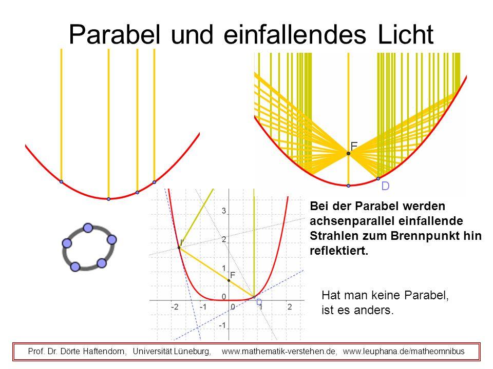 Parabel und einfallendes Licht Prof. Dr. Dörte Haftendorn, Universität Lüneburg, www.mathematik-verstehen.de, www.leuphana.de/matheomnibus Bei der Par
