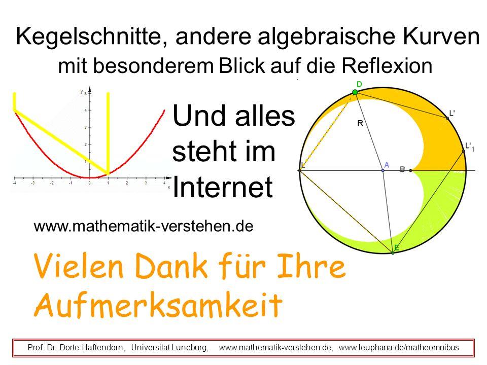 Kegelschnitte, andere algebraische Kurven mit besonderem Blick auf die Reflexion Prof. Dr. Dörte Haftendorn, Universität Lüneburg, www.mathematik-vers