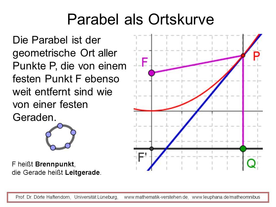 Parabel als Ortskurve Prof. Dr. Dörte Haftendorn, Universität Lüneburg, www.mathematik-verstehen.de, www.leuphana.de/matheomnibus Die Parabel ist der