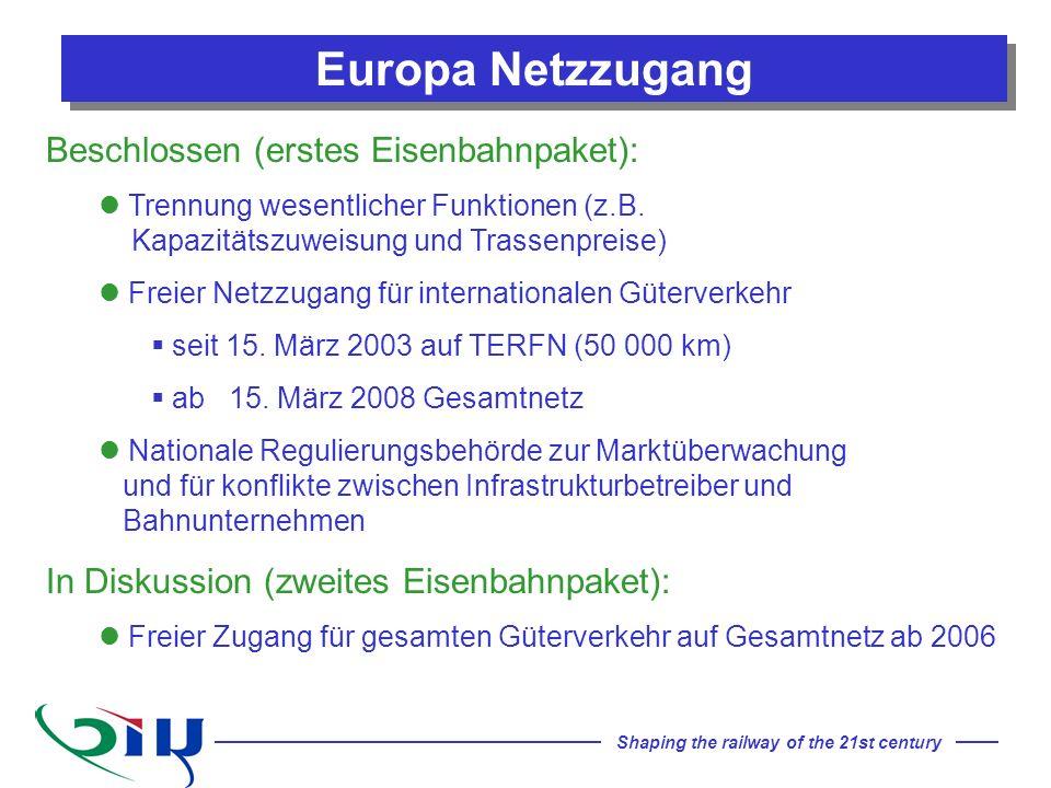 Shaping the railway of the 21st century Beschlossen (erstes Eisenbahnpaket): Trennung wesentlicher Funktionen (z.B. Kapazitätszuweisung und Trassenpre