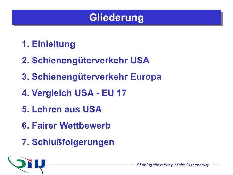 Shaping the railway of the 21st century Gliederung 1. Einleitung 2. Schienengüterverkehr USA 3. Schienengüterverkehr Europa 4. Vergleich USA - EU 17 5