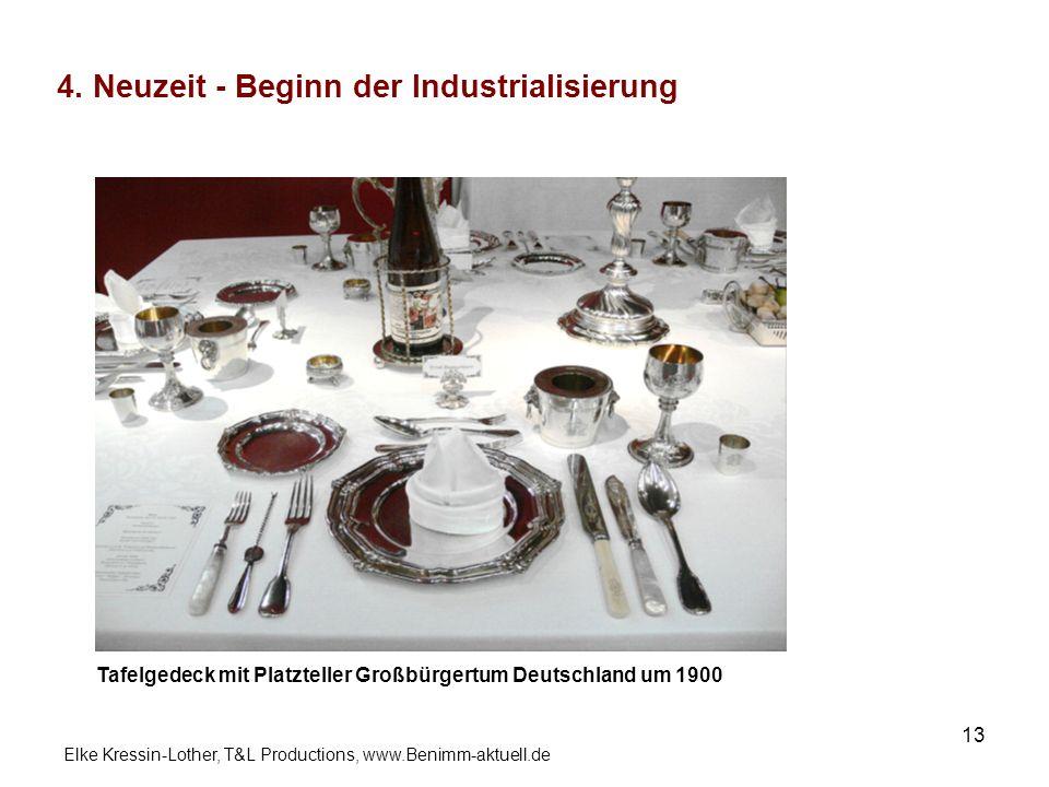 Elke Kressin-Lother, T&L Productions, www.Benimm-aktuell.de 13 4. Neuzeit - Beginn der Industrialisierung Tafelgedeck mit Platzteller Großbürgertum De
