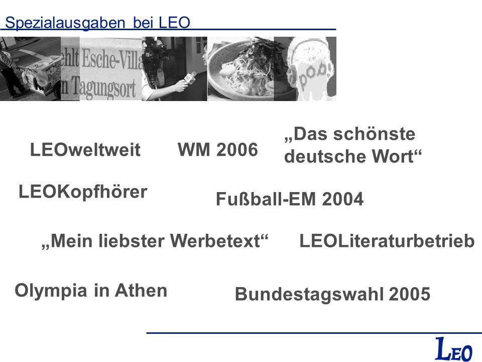 Spezialausgaben bei LEO LEOweltweit Bundestagswahl 2005 Fußball-EM 2004 Das schönste deutsche Wort Mein liebster Werbetext Olympia in Athen LEOKopfhör