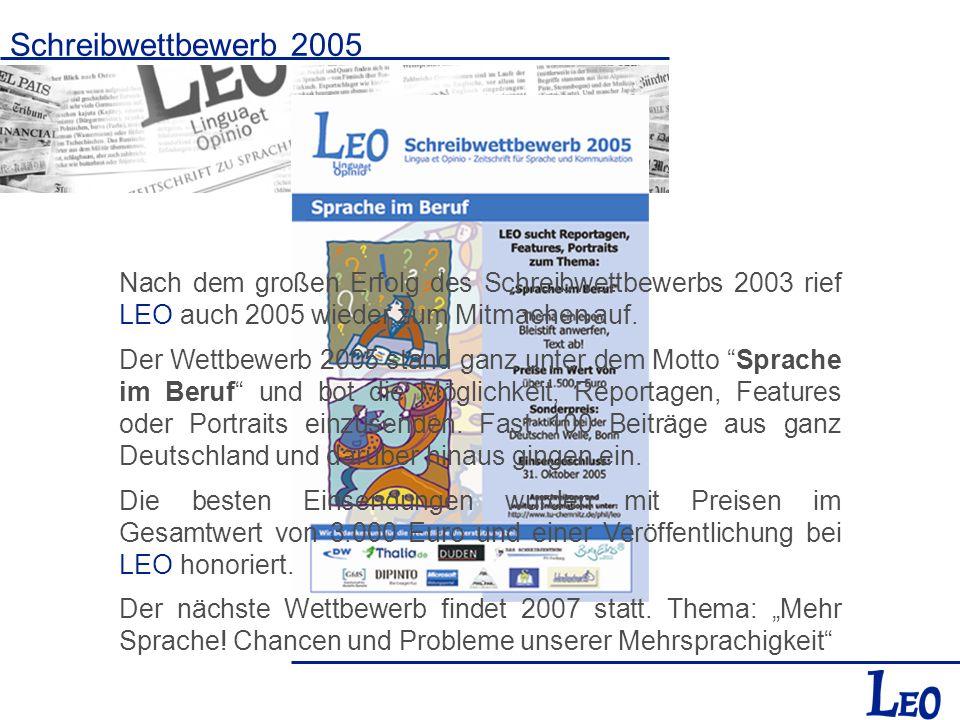 Schreibwettbewerb 2005 Nach dem großen Erfolg des Schreibwettbewerbs 2003 rief LEO auch 2005 wieder zum Mitmachen auf. Der Wettbewerb 2005 stand ganz