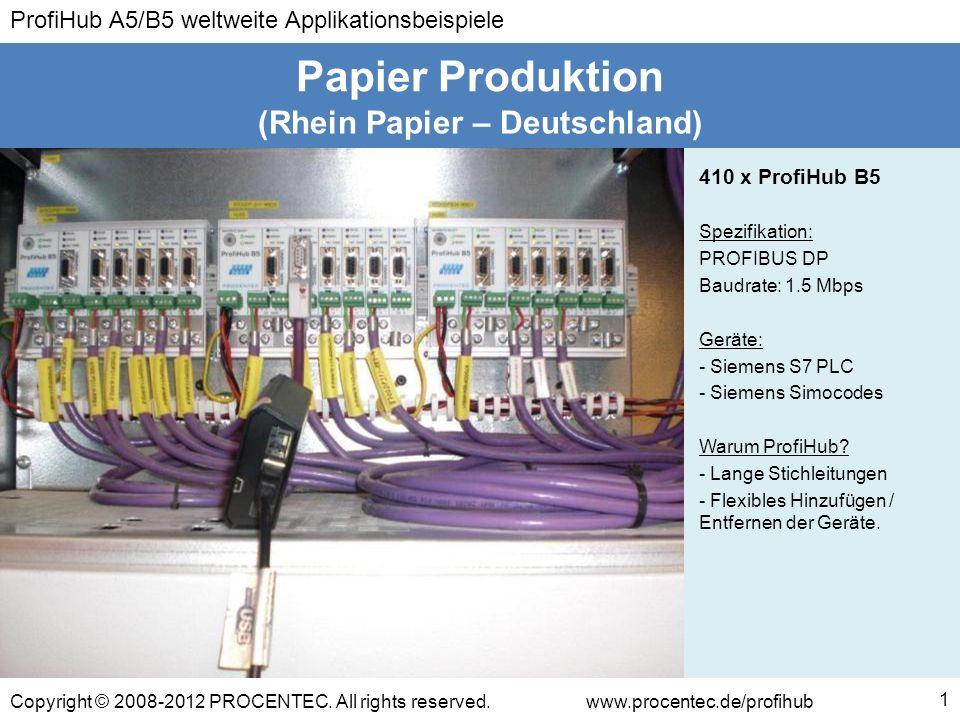 ProfiHub A5/B5 weltweite Applikationsbeispiele Copyright © 2008-2012 PROCENTEC. All rights reserved.www.procentec.de/profihub (Rhein Papier – Deutschl