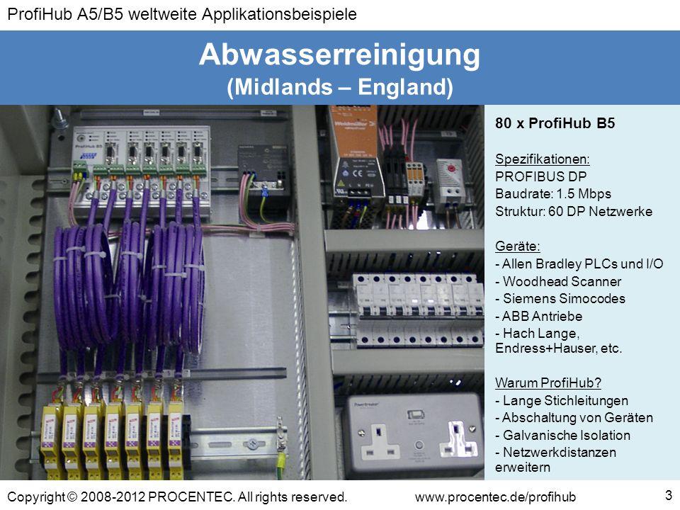 ProfiHub A5/B5 weltweite Applikationsbeispiele Copyright © 2008-2012 PROCENTEC. All rights reserved.www.procentec.de/profihub (Midlands – England) Abw