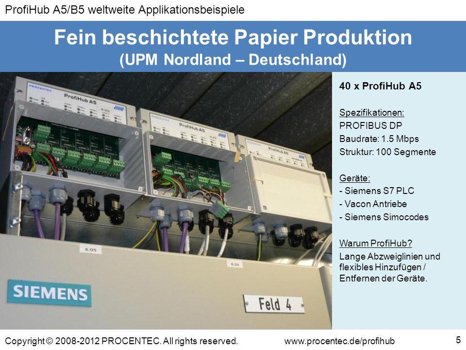 ProfiHub A5/B5 weltweite Applikationsbeispiele Copyright © 2008-2012 PROCENTEC. All rights reserved.www.procentec.de/profihub 5 (UPM Nordland – Deutsc