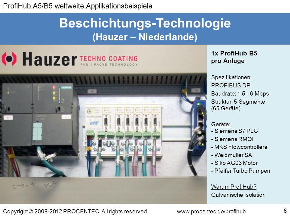 ProfiHub A5/B5 weltweite Applikationsbeispiele Copyright © 2008-2012 PROCENTEC. All rights reserved.www.procentec.de/profihub (Hauzer – Niederlande) B