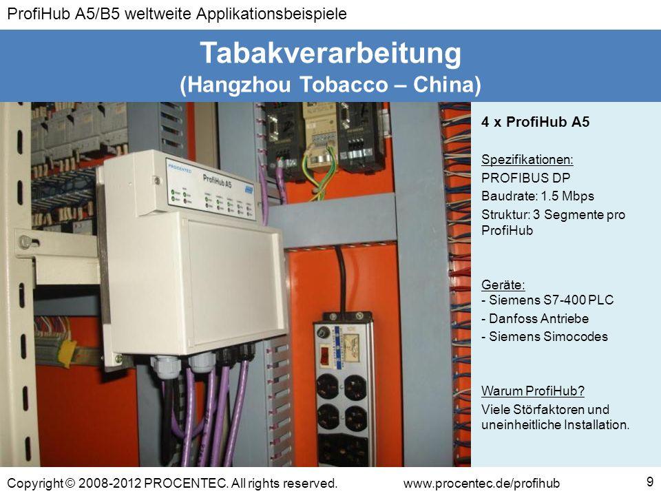 ProfiHub A5/B5 weltweite Applikationsbeispiele Copyright © 2008-2012 PROCENTEC. All rights reserved.www.procentec.de/profihub (Hangzhou Tobacco – Chin