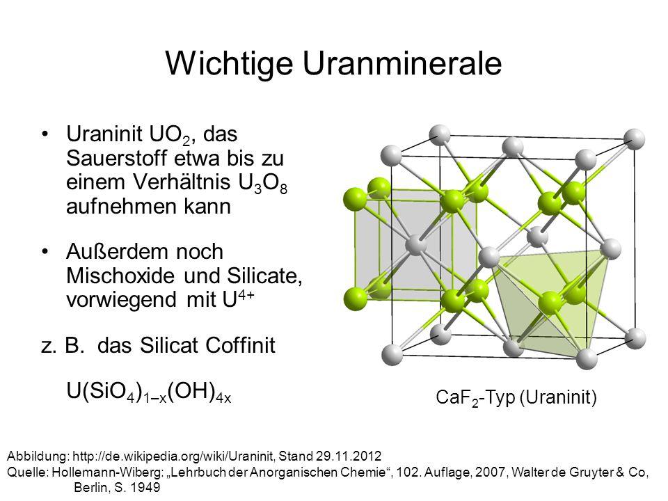 Wichtige Uranminerale Uraninit UO 2, das Sauerstoff etwa bis zu einem Verhältnis U 3 O 8 aufnehmen kann Außerdem noch Mischoxide und Silicate, vorwieg