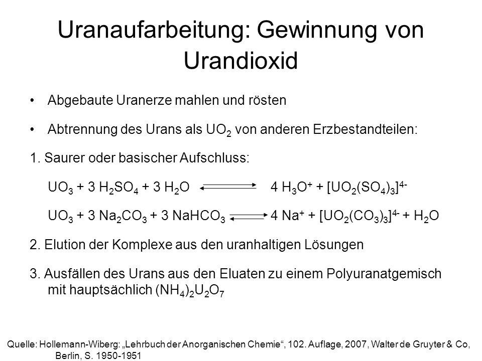 Uranaufarbeitung: Gewinnung von Urandioxid Abgebaute Uranerze mahlen und rösten Abtrennung des Urans als UO 2 von anderen Erzbestandteilen: 1. Saurer