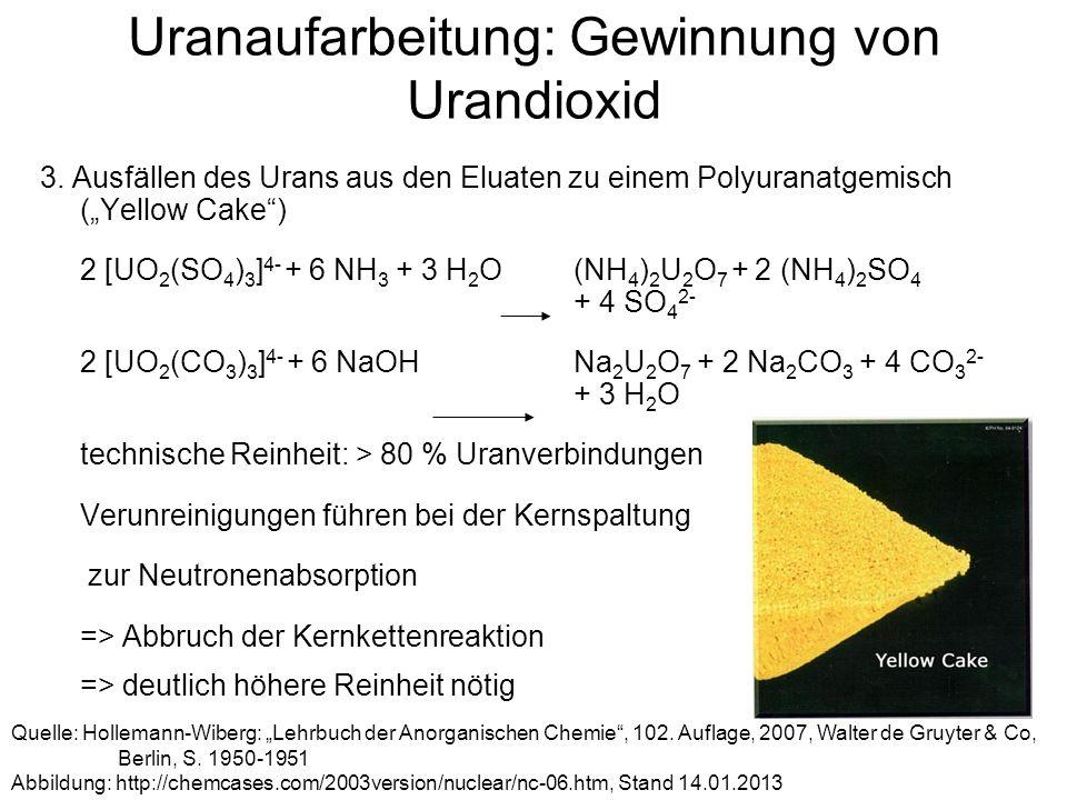 Uranaufarbeitung: Gewinnung von Urandioxid 3. Ausfällen des Urans aus den Eluaten zu einem Polyuranatgemisch (Yellow Cake) 2 [UO 2 (SO 4 ) 3 ] 4- + 6
