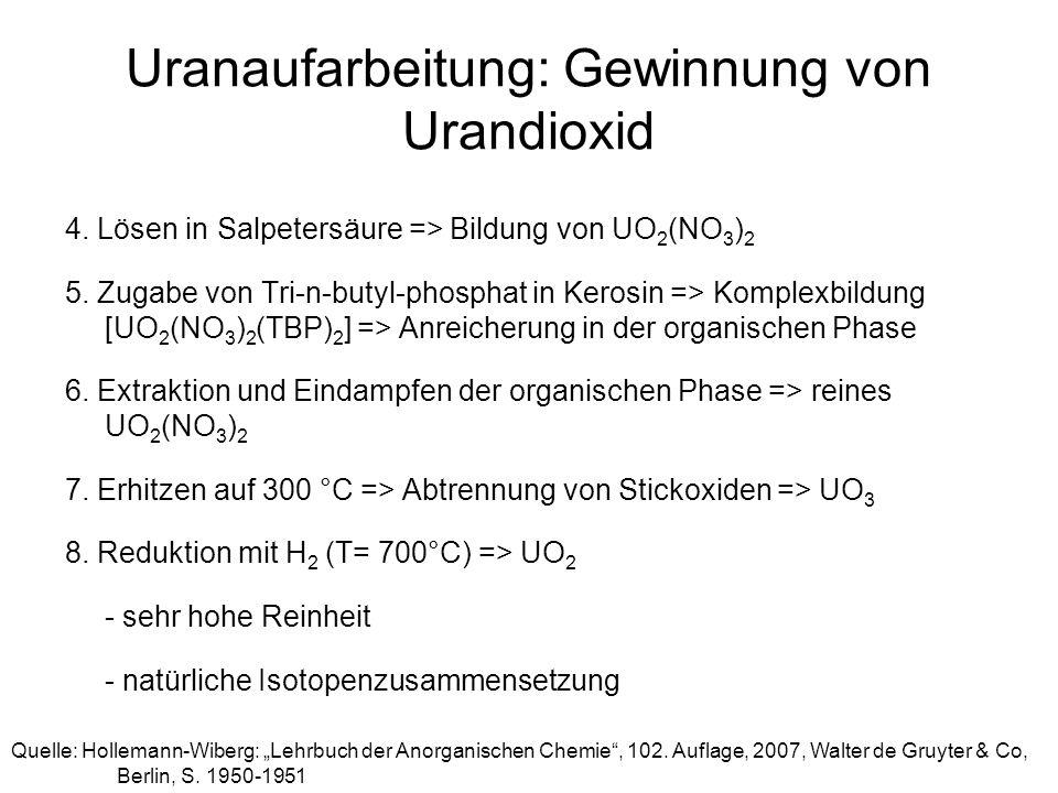 Uranaufarbeitung: Gewinnung von Urandioxid 4. Lösen in Salpetersäure => Bildung von UO 2 (NO 3 ) 2 5. Zugabe von Tri-n-butyl-phosphat in Kerosin => Ko