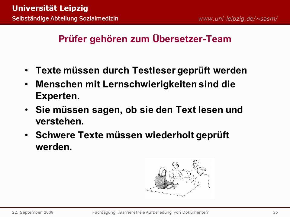 Universität Leipzig Selbständige Abteilung Sozialmedizin www.uni-leipzig.de/~sasm/ 22.
