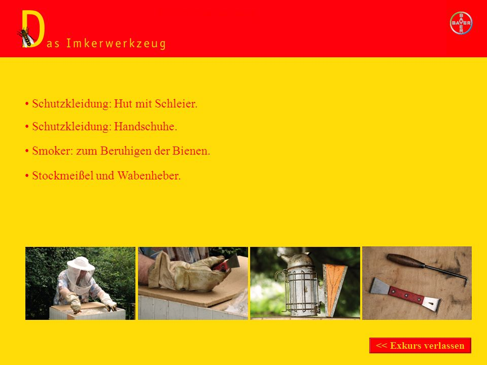 Schutzkleidung: Handschuhe. Schutzkleidung: Hut mit Schleier. Smoker: zum Beruhigen der Bienen. Stockmeißel und Wabenheber. Exkurs Imkerwerkzeug << Ex