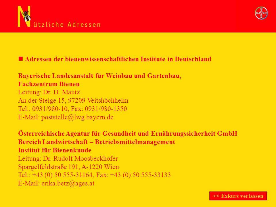 Adressen der bienenwissenschaftlichen Institute in Deutschland Bayerische Landesanstalt für Weinbau und Gartenbau, Fachzentrum Bienen Leitung: Dr. D.