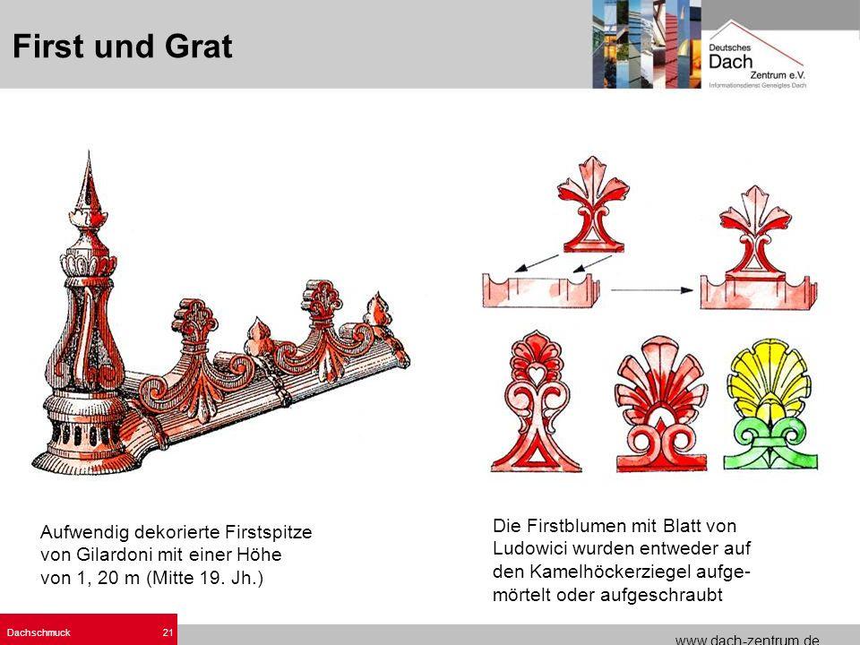www.dach-zentrum.de Dachschmuck21 Die Firstblumen mit Blatt von Ludowici wurden entweder auf den Kamelhöckerziegel aufge- mörtelt oder aufgeschraubt A