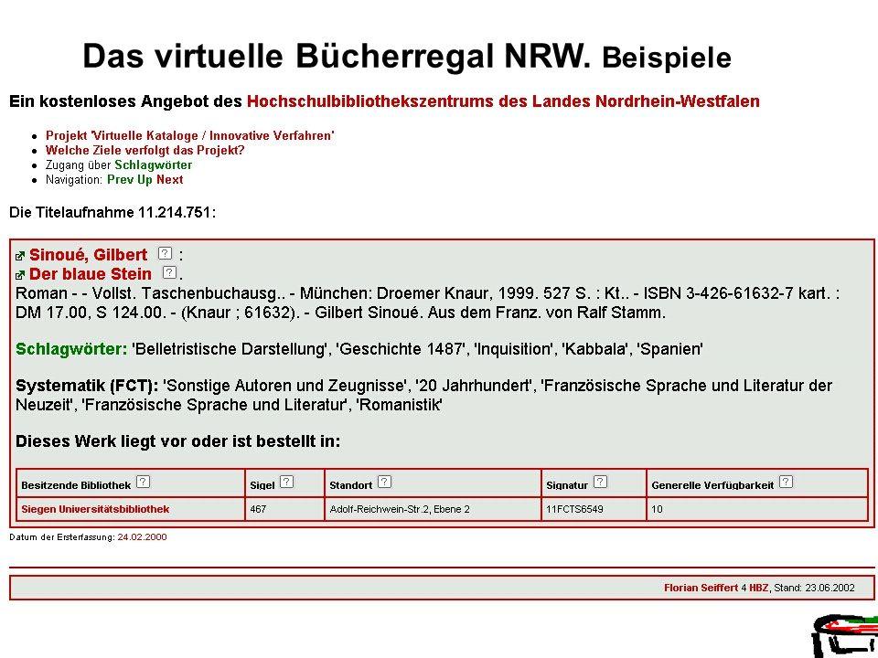 HBZ Florian Seiffert Das virtuelle Bücherregal NRW. Beispiele