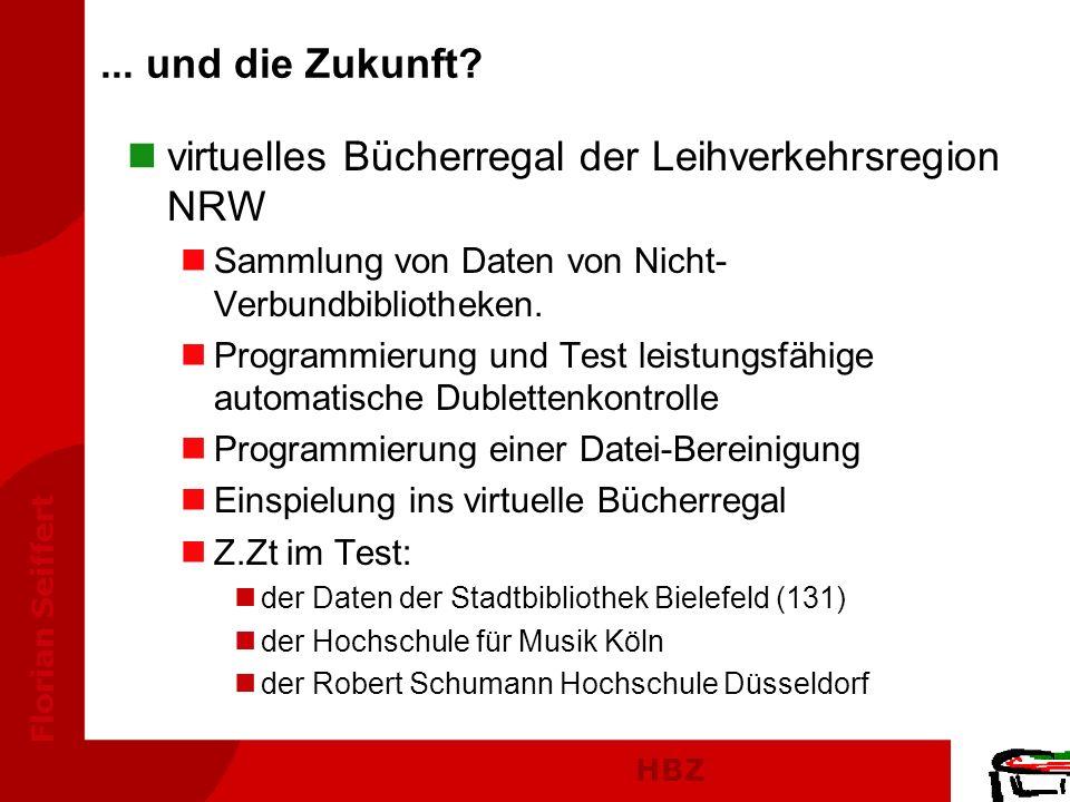 HBZ Florian Seiffert... und die Zukunft? nvirtuelles Bücherregal der Leihverkehrsregion NRW nSammlung von Daten von Nicht- Verbundbibliotheken. nProgr