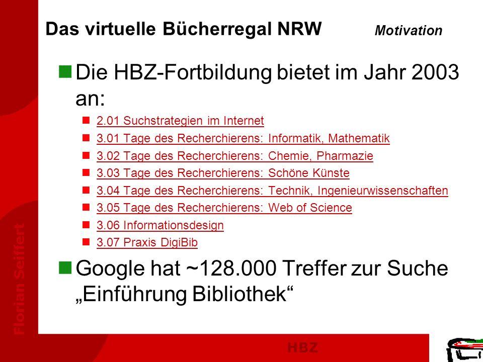HBZ Florian Seiffert Das virtuelle Bücherregal NRW Motivation nDie HBZ-Fortbildung bietet im Jahr 2003 an: n2.01 Suchstrategien im Internet2.01 Suchst