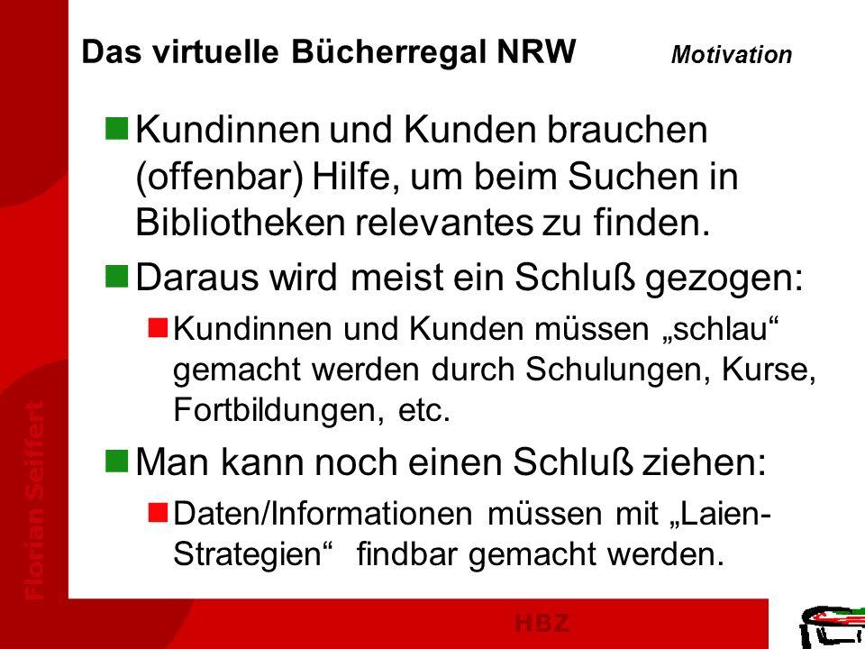 HBZ Florian Seiffert Das virtuelle Bücherregal NRW Motivation nKundinnen und Kunden brauchen (offenbar) Hilfe, um beim Suchen in Bibliotheken relevant