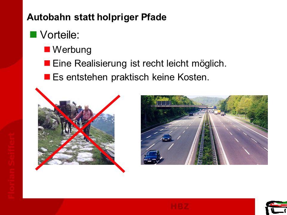 HBZ Florian Seiffert nVorteile: nWerbung nEine Realisierung ist recht leicht möglich. nEs entstehen praktisch keine Kosten. Autobahn statt holpriger P