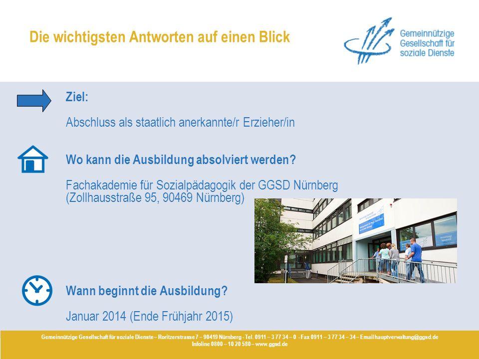 Ziel: Abschluss als staatlich anerkannte/r Erzieher/in Wo kann die Ausbildung absolviert werden? Fachakademie für Sozialpädagogik der GGSD Nürnberg (Z