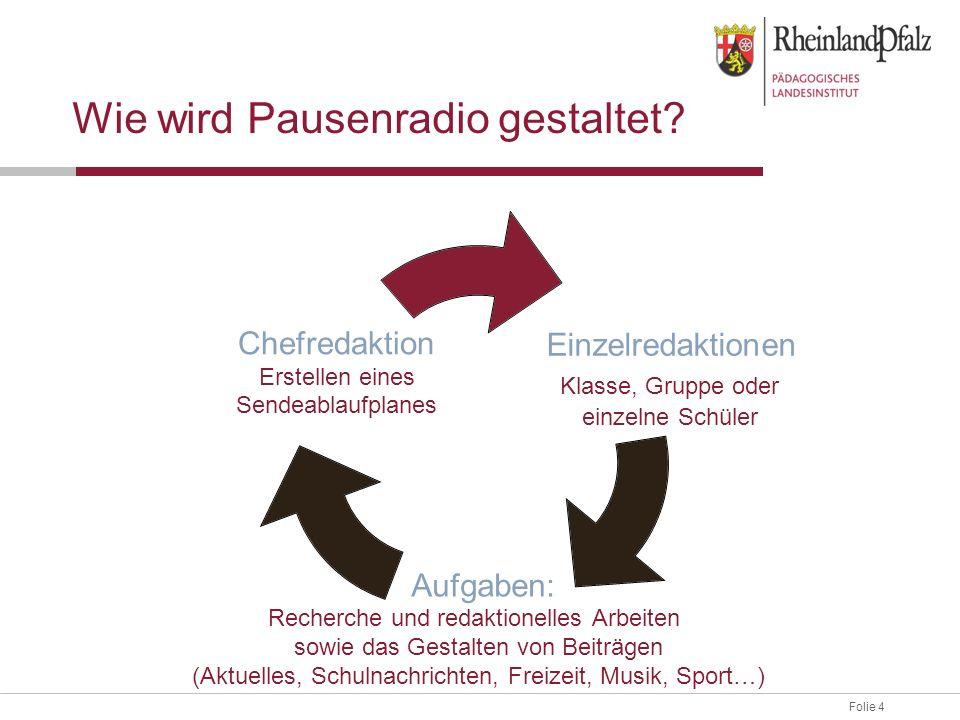 Folie 4 Wie wird Pausenradio gestaltet? Einzelredaktionen Klasse, Gruppe oder einzelne Schüler Aufgaben: Recherche und redaktionelles Arbeiten sowie d