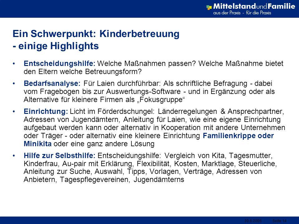30.6.2005Seite 14 Ein Schwerpunkt: Kinderbetreuung - einige Highlights Entscheidungshilfe: Welche Maßnahmen passen? Welche Maßnahme bietet den Eltern