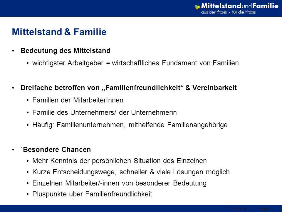 30.6.2005Seite 2 Mittelstand & Familie Bedeutung des Mittelstand wichtigster Arbeitgeber = wirtschaftliches Fundament von Familien Dreifache betroffen