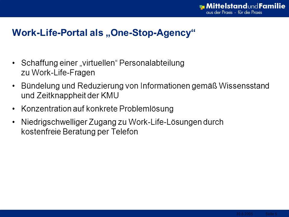 30.6.2005Seite 5 Work-Life-Portal als One-Stop-Agency Schaffung einer virtuellen Personalabteilung zu Work-Life-Fragen Bündelung und Reduzierung von I