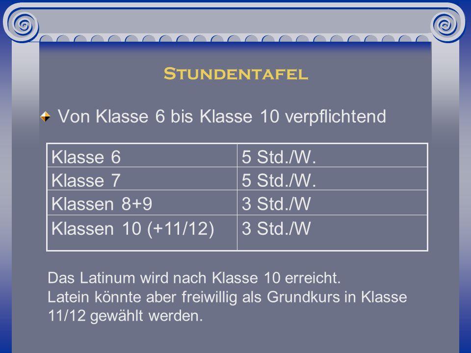 Stundentafel 3 Std./WKlassen 10 (+11/12) 3 Std./WKlassen 8+9 5 Std./W.Klasse 7 5 Std./W.Klasse 6 Von Klasse 6 bis Klasse 10 verpflichtend Das Latinum wird nach Klasse 10 erreicht.