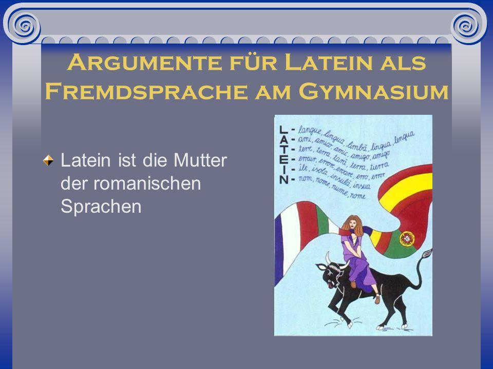 Sprachmodell Latein Grammatik und Sprachaufbau sind zentrale Unterrichtsinhalte Erhöhung der Sprachkompetenz im Deutschen durch das Übersetzen Zweisprachiger Unterricht fast keine Ausspracheprobleme Ergänzende Funktion zu Englisch, Grundlage für Französisch und Italienisch