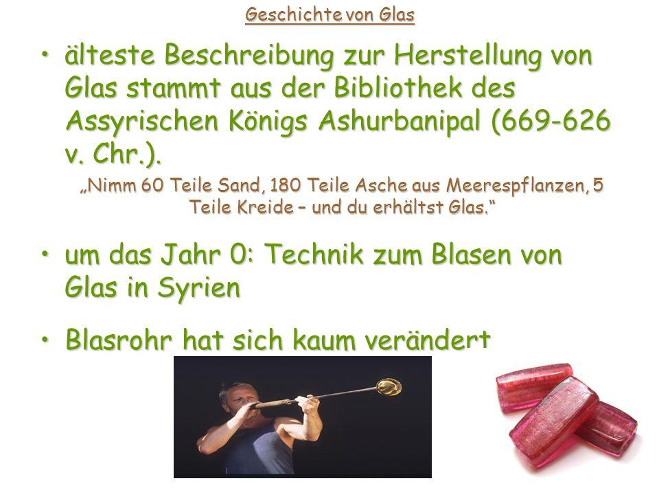 Geschichte von Glas 11.Jhd. n. Chr.: Technik zur Produktion von Glasplatten11.
