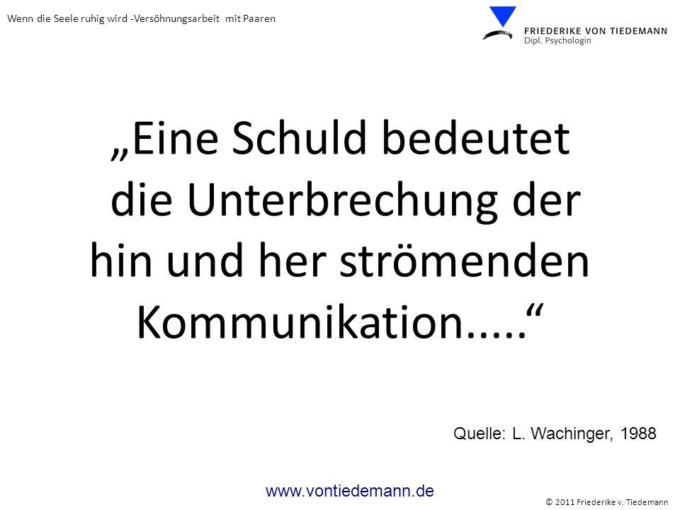 Wenn die Seele ruhig wird -Versöhnungsarbeit mit Paaren © 2011 Friederike v. Tiedemann www.vontiedemann.de Eine Schuld bedeutet die Unterbrechung der