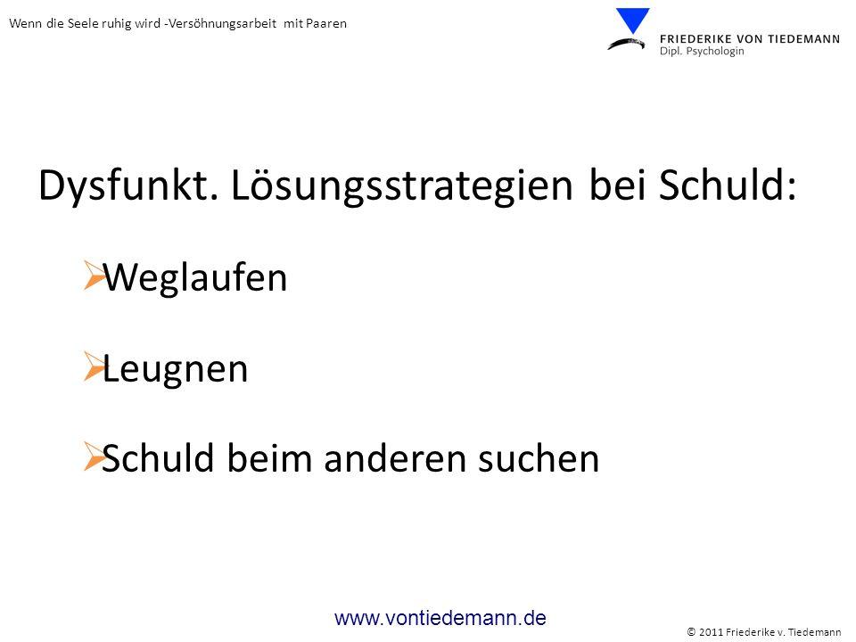 Wenn die Seele ruhig wird -Versöhnungsarbeit mit Paaren © 2011 Friederike v. Tiedemann www.vontiedemann.de Dysfunkt. Lösungsstrategien bei Schuld: Weg