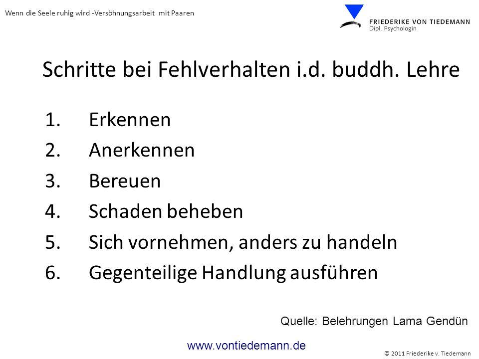 Wenn die Seele ruhig wird -Versöhnungsarbeit mit Paaren © 2011 Friederike v. Tiedemann www.vontiedemann.de 1. Erkennen 2. Anerkennen 3. Bereuen 4. Sch
